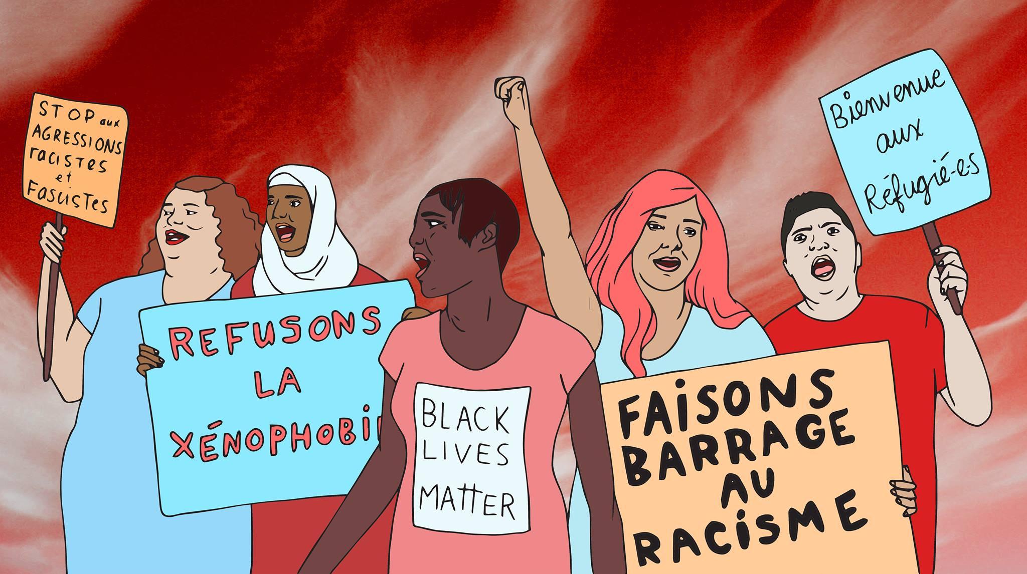 Manifestation Contre le racisme et la xénophobie: ici et ailleurs Dimanche 14h, métro St-Laurent, Montréal